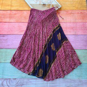 Isabella Bird Purple Cotton Batik Boho Maxi Skirt
